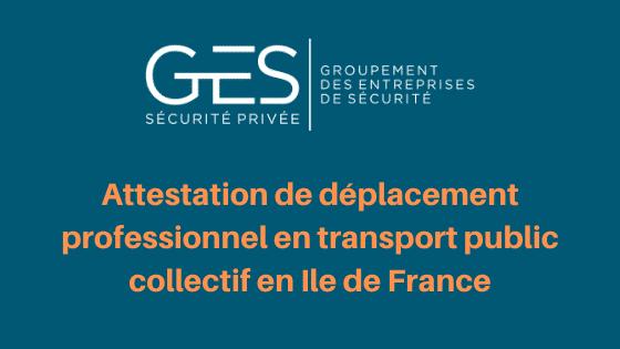 Attestation de déplacement professionnel en transport public collectif en Ile de France