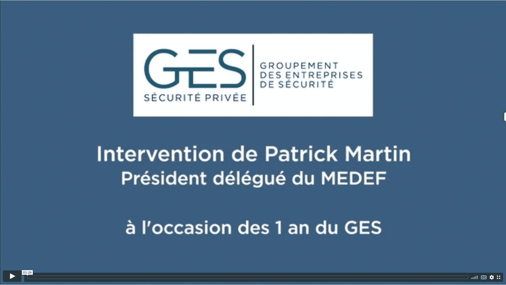Patrick Martin - MEDEF - 1 an du GES